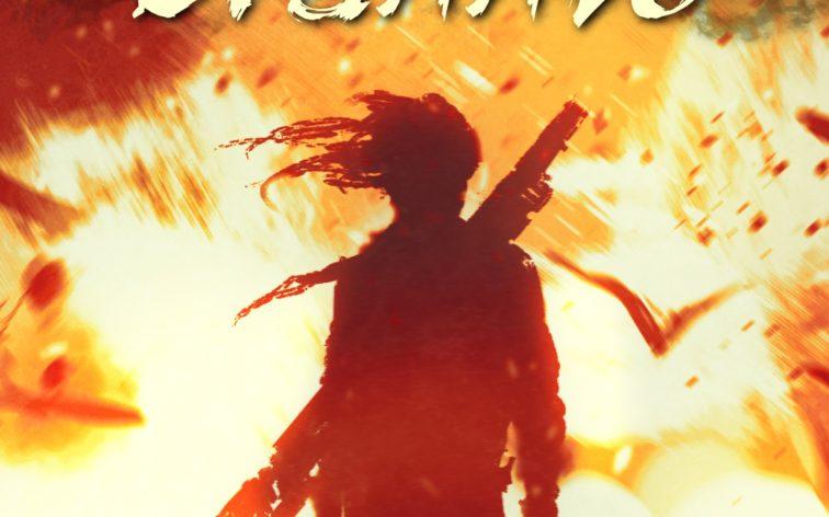 """Cover zur Kurzgeschichte """"Als Hylios brannte"""" von Annette Juretzki: Ein Mann mit Gewehr auf dem Rücken steht in einem Feuerinferno; er ist nur als dunkelroter Schemen zu erkennen."""