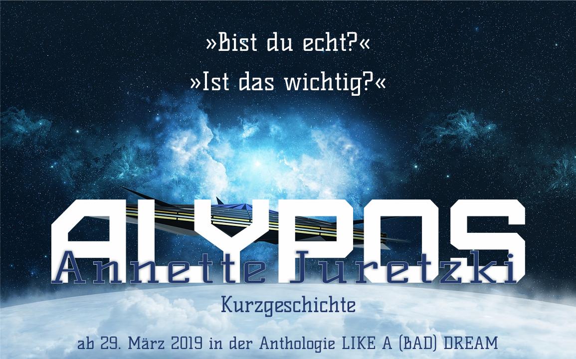 Ein Raumschiff vor einer blauen Weltraumwolke mit dem Wort Alypos im Vordergrund